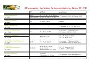 Öffnungszeiten Gastronomie Winter 2012/13