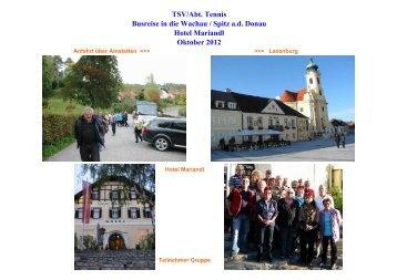 TSV/Abt. Tennis Busreise in die Wachau / Spitz ad Donau Hotel ...
