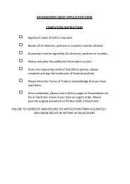 RAVENSDOWN APPLICATION FOR CREDIT ACCOUNT GUARANTEE