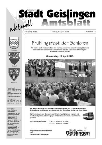 Anzeigenwerbung - Stadt Geislingen