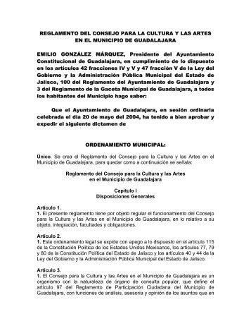 reglamento del consejo para la cultura y las artes en el municipio de ...