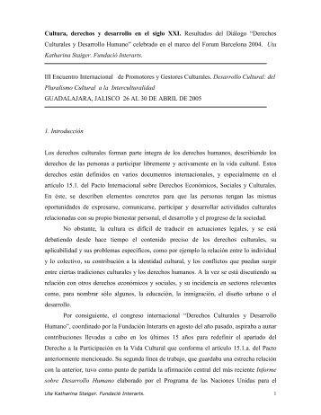 Cultura, derechos y desarrollo en el siglo XXI - Sistema de ...