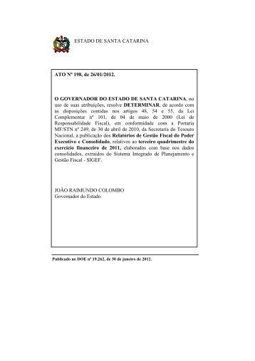 3° Quadrimestre - Secretaria de Estado da Fazenda - Governo do ...