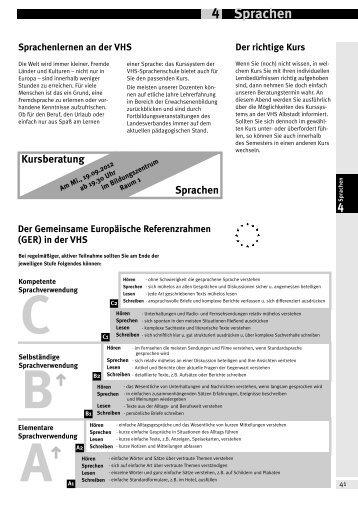 § § Sprachen 4 - Volkshochschule Albstadt