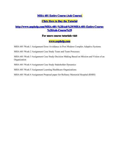 MHA 601 Entire Course pdf