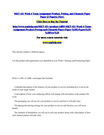 mkt 421 week 4 assignment blue Mkt 421 week 4 individual assignment blue ocean strategy paper (2 papers) this tutorial was purchased 12 times & rated a+ by student like you this tutorial contains 2 different papers write a 750- to 1,000-word paper that describes the importance of blue ocean strategy and identifies a product or service that would be considered a blue ocean move.