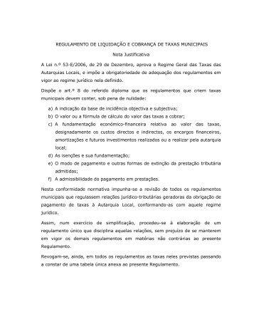 REGULAMENTO DE LIQUIDAÇÃO E COBRANÇA DE TAXAS ...