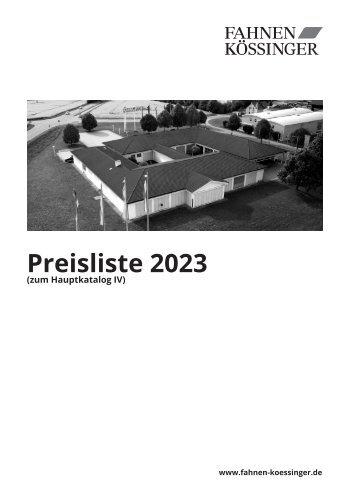 Fahnen Kössinger Preisliste 2018 zum Hauptkatalog IV