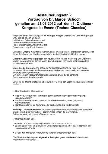 Restaurierungsethik Vortrag von Dr. Marcel Schoch gehalten ... - SIHA