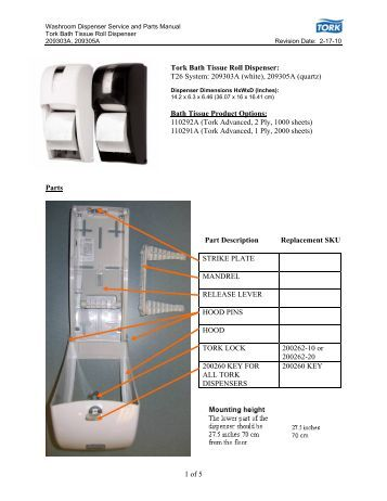 Washroom Dispenser Service And Parts Manual Tork Intuition