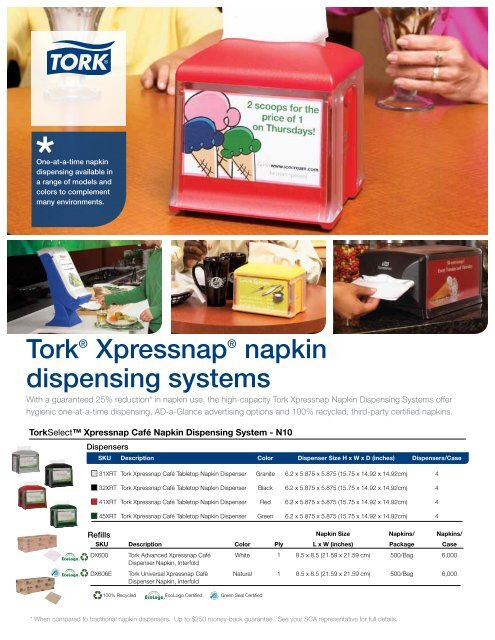 Tork DX606E 1-Ply Universal Interfold Xpressnap Cafe Dispenser Napkin Natural,
