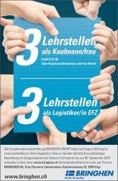 6 Lehrstellen in der BRINGHEN AG VISP auf 2016 zu vergeben!