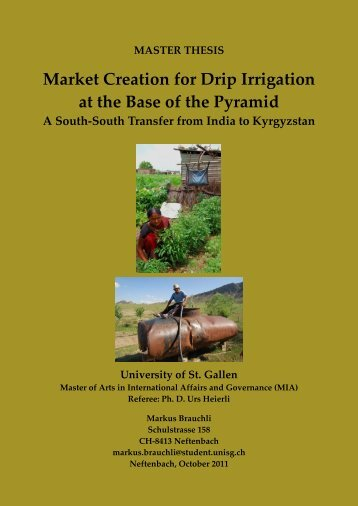 Market Creation for Drip Irrigation at the Base of the Pyramid
