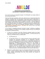LISTING REQUIREMENTS - The NWGLDE Website