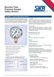 Bourdon Tube Pressure Gauges, Safety Version - Sika
