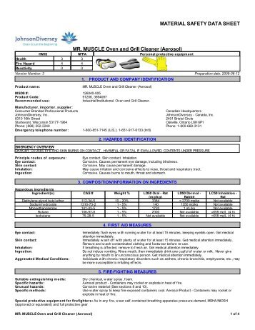 Mr Muscle Drain Cleaner Coshh Data Sheet