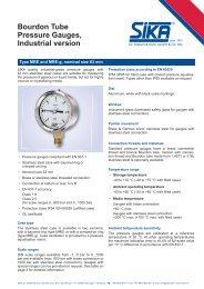 Bourdon Tube Pressure Gauges, Industrial version - Sika
