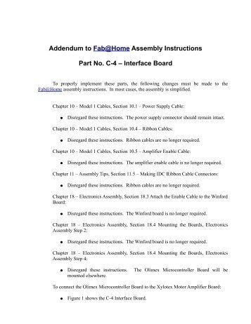 Addendum to Fab@Home Assembly Instructions Part No C-4 – Interface Board