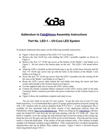 Addendum to Fab@Home Assembly Instructions Part No LED-1 – UV-Cure LED System