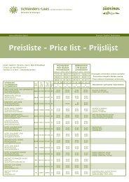 Preisliste - Price list - Prijslijst - Tourismusverein Schlanders Laas