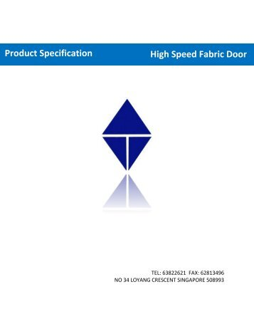 Product Specification High Speed Fabric Door
