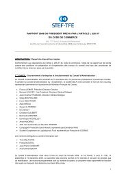 Rapport du Président sur les procédures de contrôle ... - STEF-TFE