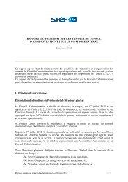 Rapport du Président sur les procédures de contrôle interne ... - Stef