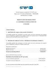 Présentation des résolutions à l'Assemblée Générale du 15/05 ... - Stef