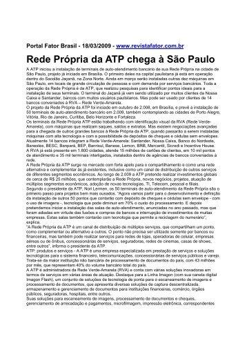 Rede Própria da ATP chega à São Paulo