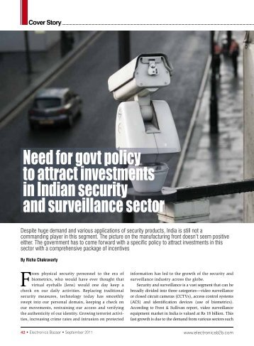 Need for govt policy to attract investments in Indian security and ...