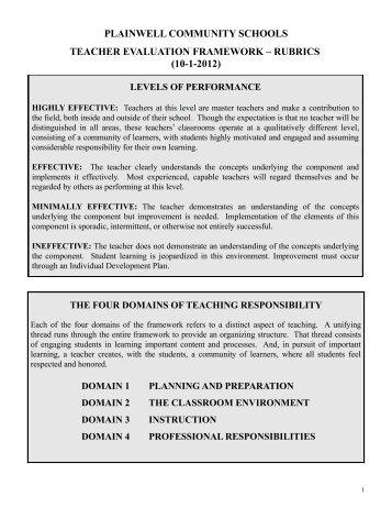 domain 1: planning and preparation - Plainwell Community Schools