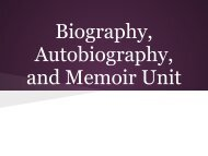Biography Autobiography and Memoir Unit