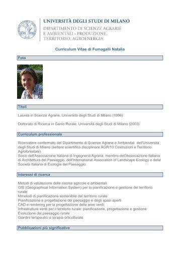 Curriculum Vitae di Fumagalli Natalia - Agraria - Università degli ...