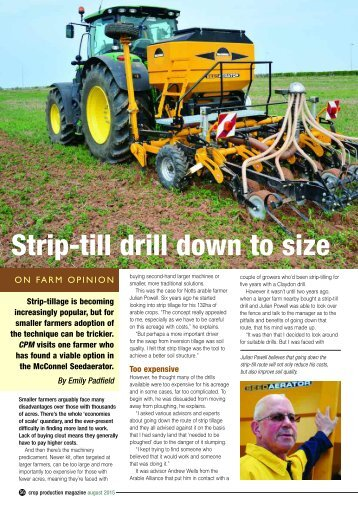 Strip-till drill down to size