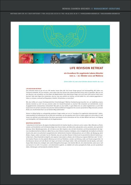 Life revision retreat Mallorca, pdf - Monika Dahmen-Breiner ...