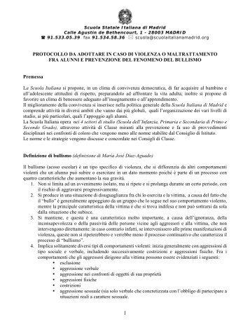 1 PROTOCOLLO DA ADOTTARE IN CASO DI VIOLENZA O ...