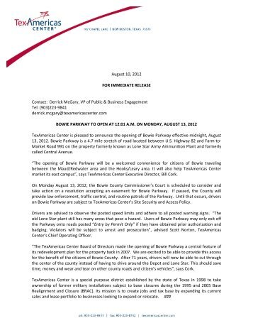 August 10, 2012 FOR IMMEDIATE RELEASE Contact: Derrick ...