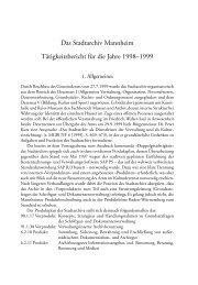 bericht 1998/1999 - Stadtarchiv Mannheim - Stadt Mannheim