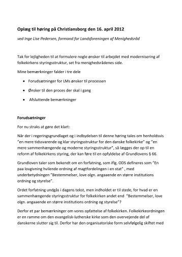 Oplæg ved formand for Landsforeningen af Menighedsråd Inge Lise ...