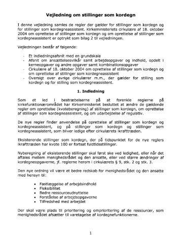 Vejledning om stillinger som kordegn - Kirkeministeriet