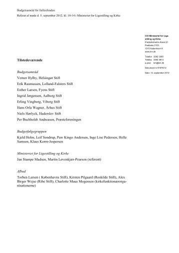 Referat af møde i budgetsamråd for fællesfonden den