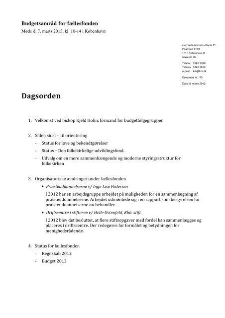 Referat af møde i budgetsamråd for fællesfonden den 7. marts 2013
