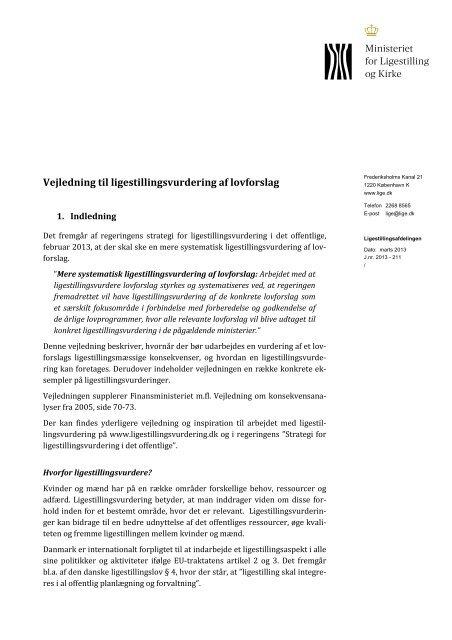 Vejledning til ligestillingsvurdering af lovforslag 200313-1