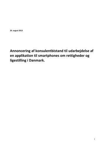 Annoncering af konsulentbistand til udarbejdelse af kortlægning af ...