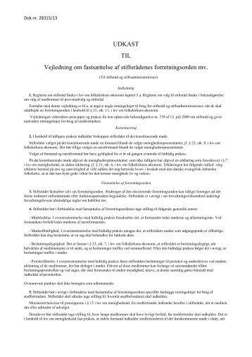 UDKAST TIL Vejledning om fastsættelse af stiftsrådenes forretningsorden mv