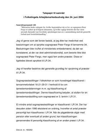Talepapir til samrnd i Folketingets ... - Kirkeministeriet