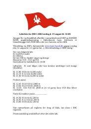 Løbsliste for DBC i ARK Lørdag d. 15 august kl. 10.00 Amager Ro ...