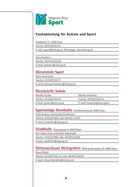 Fachabteilung für Schule und Sport