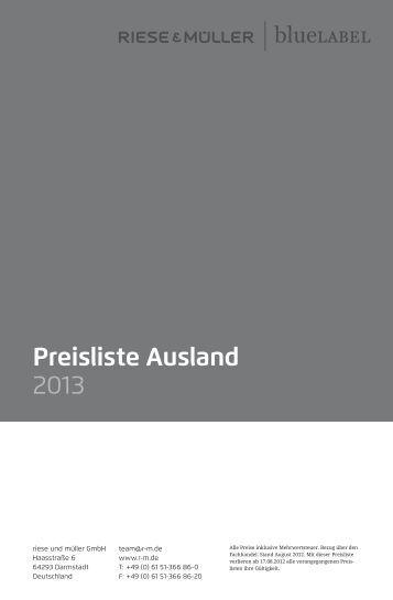 Preisliste Ausland 2013 - Riese und Müller