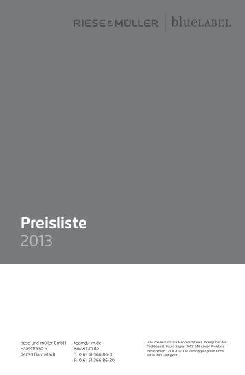 Preisliste 2013 - Riese und Müller